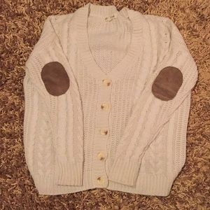 Button up cardigan with elbow patches